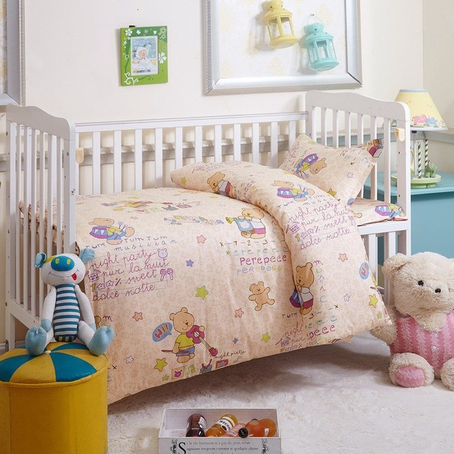 3pcs Cute Baby Crib Cotton Bedding set Comforter Pillow Case+Bed Flat Sheet+Duvet Cover Kindergarten Bed Clothing
