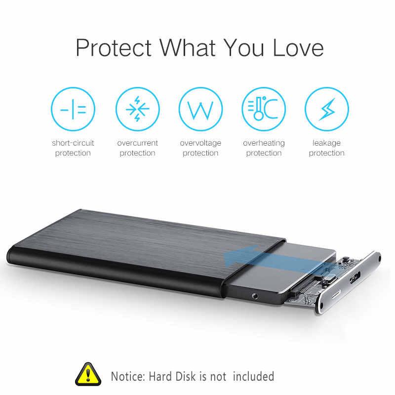 """超スリム 7 ミリメートルアルミ 2.5 """"6 Gbps の Sata III に USB3.0 外部 HDD/SSD ハードディスクドライブのエンクロージャ/ケースラップトップ/デスクトップ Macbook"""