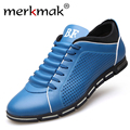 Merkmak Luxury Brand Summer Men Shoes Genuine Leather Casual Breathable Holes Mens Shoes Sport Man Outdoor Driving Loafers Flats