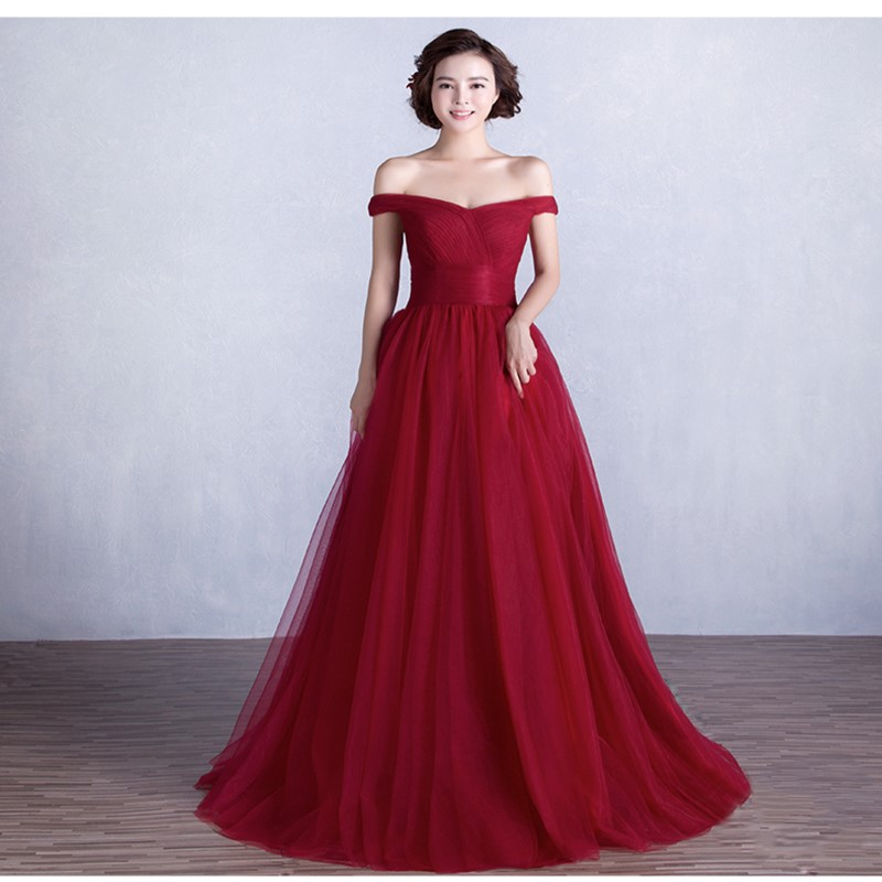 Cheap Long Burgundy Prom Dress Real Sample Off the Shoulder Tulle Formal Party Evening Gown robe de soiree