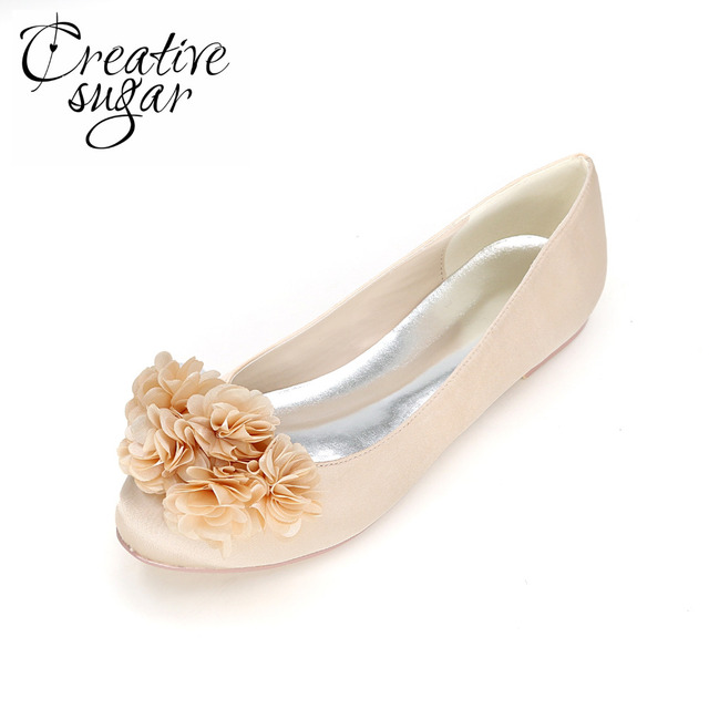 Creativesugar Sweet 3D flowe petal rounded toe woman flats satin shoes lady  girl cocktail party elegant Champagne Red royal blue de22e3329330