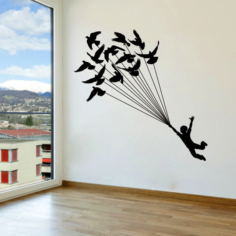 The boy grabbed birds wall decal vinyl sticker birds balloon wallpaper wall stickers for kids rooms removable mural decor in wall stickers from home