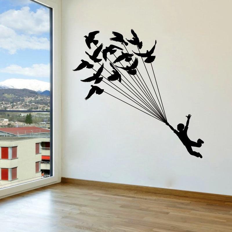 The boy Grabbed Birds Wall Decal Vinyl Sticker Birds ...