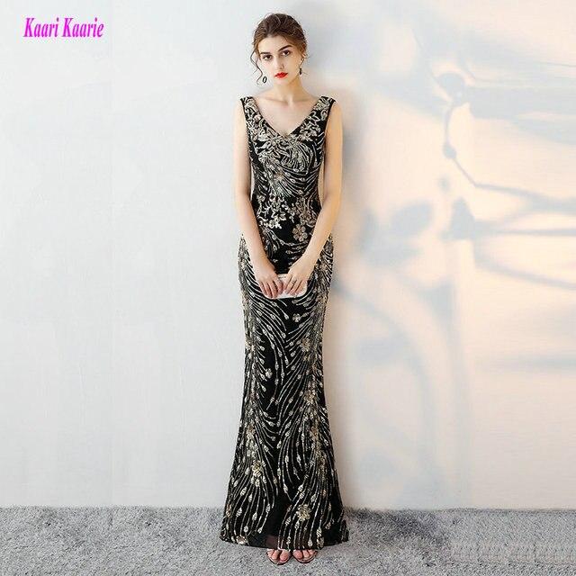 d099f52280 Largo y negro elegante sirena Noche vestidos formales 2019 Sexy V-Cuello de  lentejuelas de