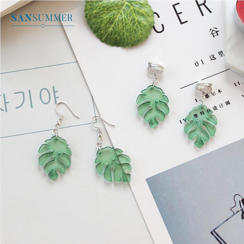 Trendy Green Leaves Earrings For Women Brincos Women Statement Dangle Earrings Fashion Minimalist Jewelry Boucle D Oreille Gifts