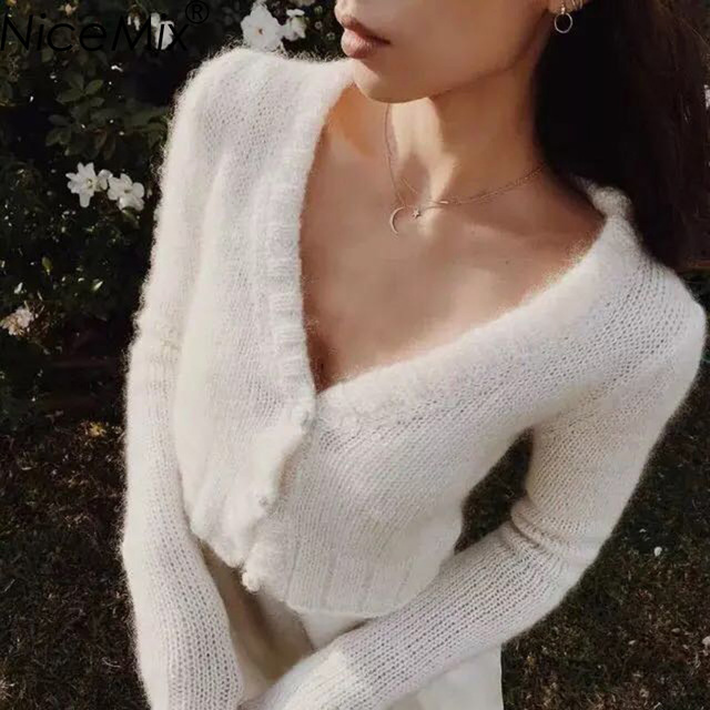 NiceMix Sexy V-Neck Sweater Women Casual Crop Cardigan Elegant Mohair Short Coat 2017 Autumn Winter Clothes Pull Femme