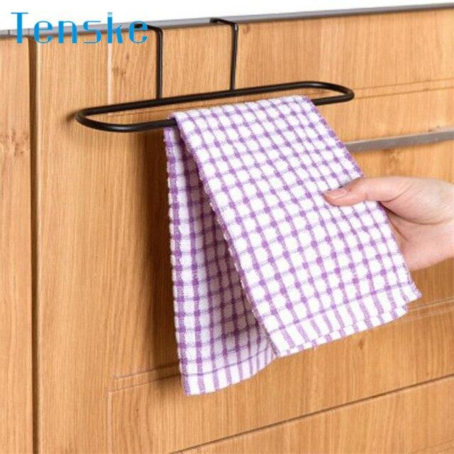 1Pc Kitchen Cabinet Over Door Hanging Towel Rack Holder Bathroom Hanger New  Portable 2MY26