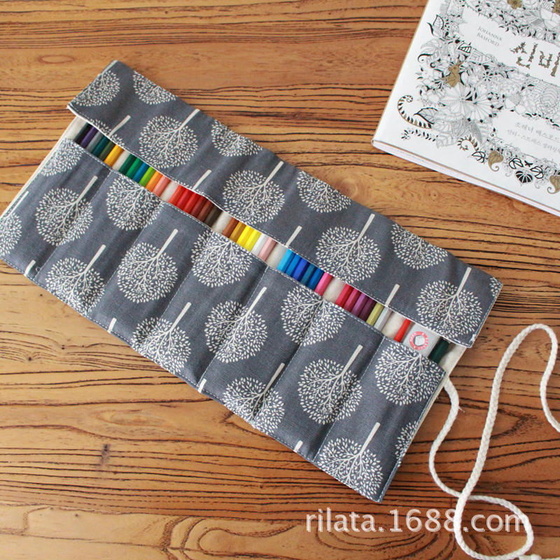 Kawaii School Roll Pencil Case 36/48/72 Holes Canvas Gray Pencilcase Leaf Penal for Children Large Pen Bag Stationery Pouch