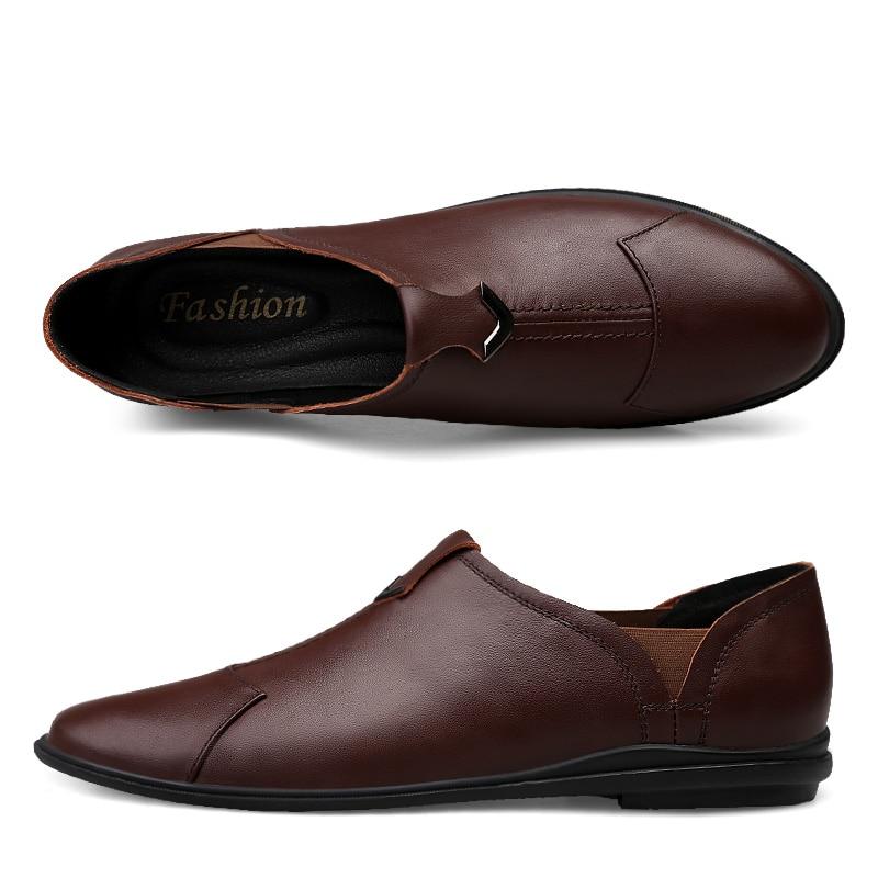 Genuíno Sapatos Sapato Mocassins Mens brown Homem Em Do Clax De Black Verão Deslizamento 2019 Masculino Casual Couro STUxAwWBq