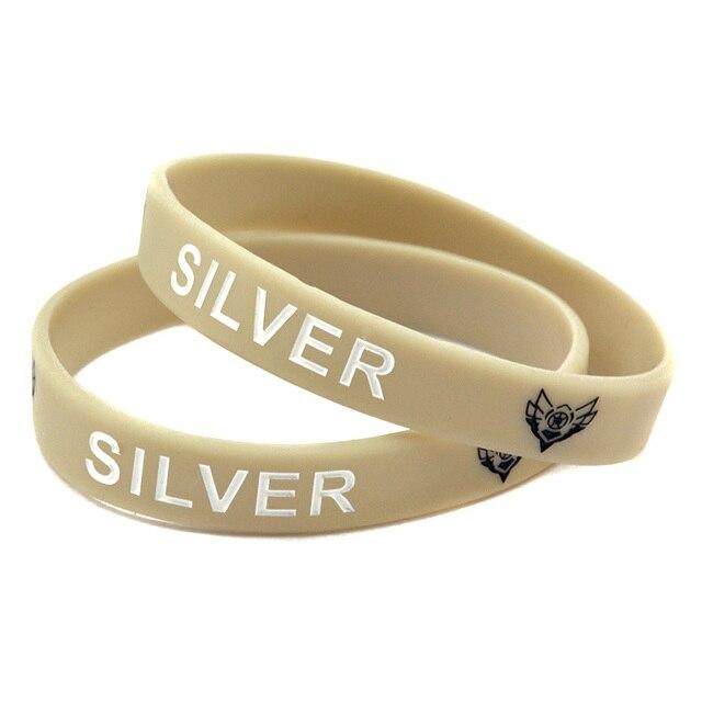 Onebandahouse 50 Pcs Lot Mix Lol Silicone Wristband Bracelet With Champion Slogan Bronze Silver Gold