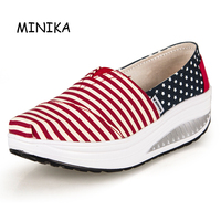 HOT Summer Minika Shoes Women S Sport For Women Swing Wedges Platform Zapatos Mujer Canvas Trainers