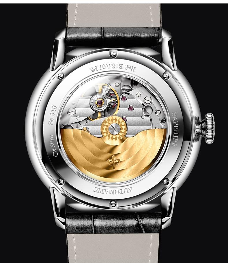 Montre automatique de luxe bracelet en cuir véritable