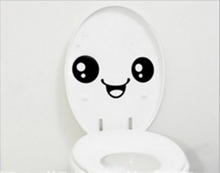 2016 New Funny Stylish Smiling Face Bathroom DIY Decal Vinyl Toilet Sticker Art Wall Paper Decor Cute Stickers CANDYKEE image