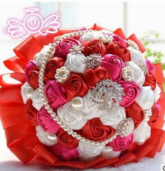 1 unids/lote, grandes de Color Rojo Perla Hermosas flores De La Boda ...