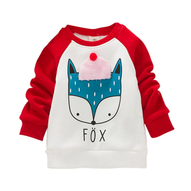 Unisex Boy Girl Sweater Clothes Childrens Thick Sweatshirts Kids Fox Pattern Hoodies Casual Velvet Thick Tops Costume S2