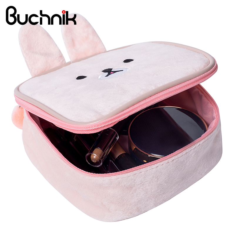 Cute Rabbit Cosmetic Bag Cartoon Bear Girl's Mini Pouch Travel Wash Makeup Tools Organizer Case Box Accessories Supplies