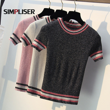 Bling Summer Tees For Women Knitted Tops O-neck Short Sleeve Sweaters 2019 Ice Cool Knitting shirts Striped Casual Clothings