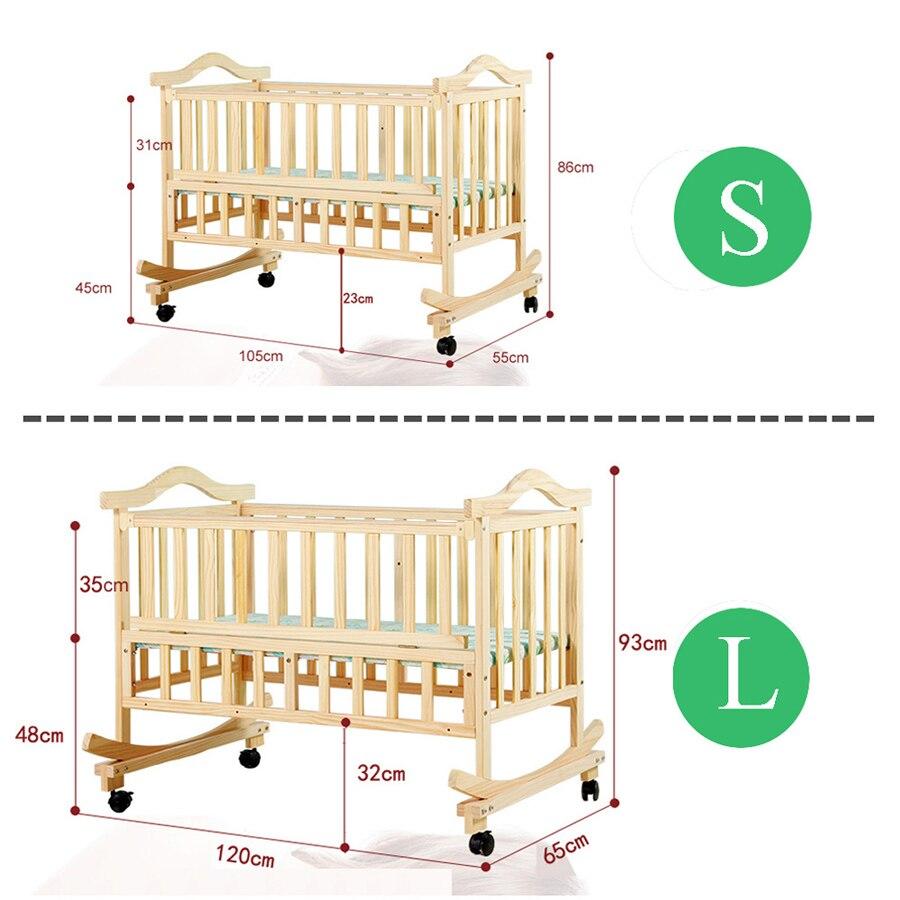105 cm/120 cm lit bébé extra grande taille, peut charger adulte, pas de peinture berceau bébé nouveau-né berceau, lit à bascule avec moustiquaire - 6