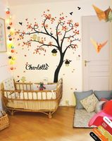 Nursery Wall Tree Decal Decor with leaves, Cute Owls,Birds and Birdcages 210X164CM