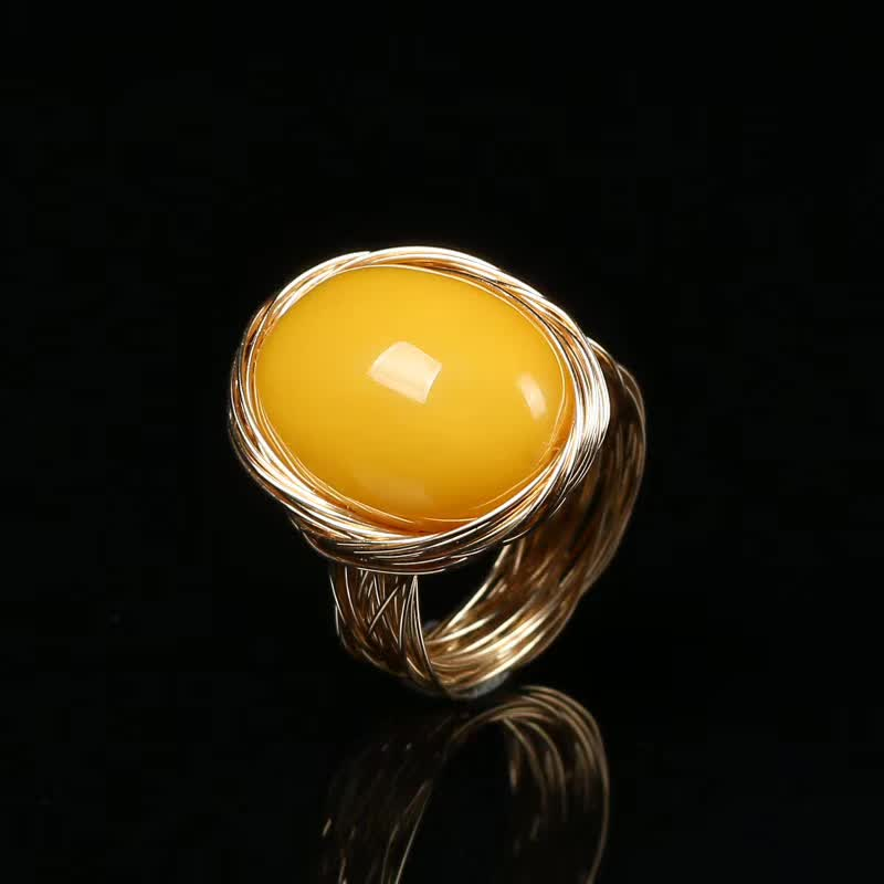 factory wholesale 14k gold wrapping mix material natural yellow amber DIY ring for women party anniversary gift 2