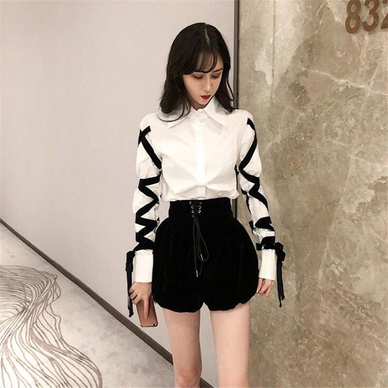 Harajuku Women Shorts Chic Waist Strap Lace-UP High Waist Lantern Shorts 2019 New Fashion Solid Color Black Shorts Female