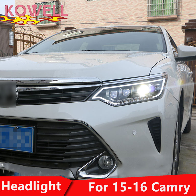 KOWELL Car Styling for Toyota Camry Headlights 2014 2017 Camry V55 LED Headlight DRL Bi Xenon