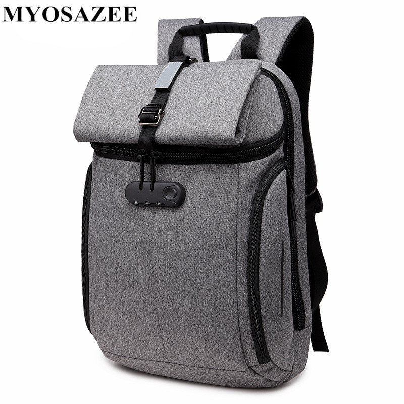 Myosazee Anti Theft Backpack Men Multi-function 15.6 Inch Password Lock Laptop Backpack Male Notebook Back Pack Travel Backpacks