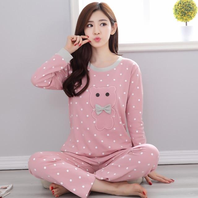 pajamas women regular thickness sweat A08 spring and autumn casual women long sleeve pajamas cotton