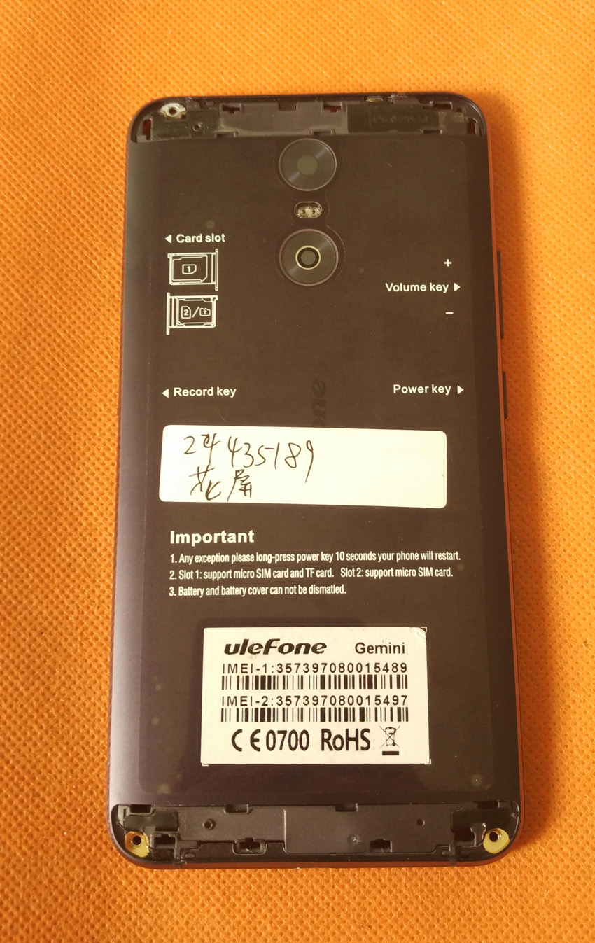 Used Original Battery Case Cover+camera glass For Ulefone Gemini 5.5 inch FHD MTK6737T Quad Core Free Shipping