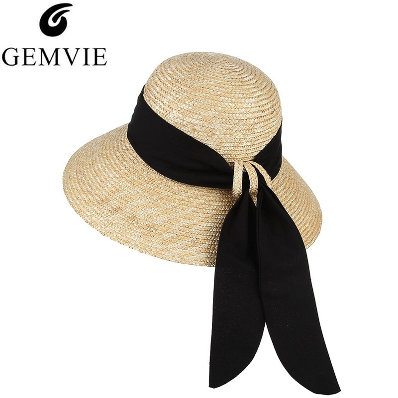 Quality Women Ladies Straw Boater Hat Festival Summer Sun Beach Hat Cap Ribbon