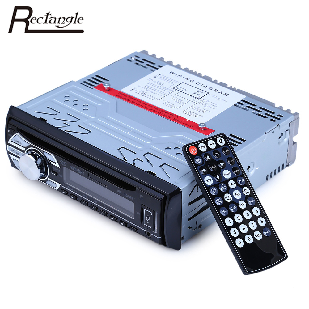 ФОТО Rectangle 1 Din Car Audio Radio Player FM Aux Input Receiver Support SD USB DVD CD MP3 Radio Audio Plyaers With Remote Control