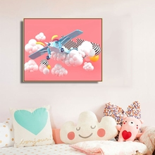 Pink Sky Cartoon Kids Wall Picture Poster Print Aircraft Clouds Baby Room Canvas Painting Calligraphy Children Art