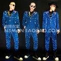 (Jacket + pants) juego ocasional masculina cantante dancer mostrar DS masculinos prendas de vestir exteriores escudo DJ trajes de danza jazz club nocturno barra de rendimiento