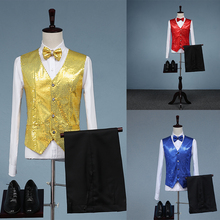 Cozimastarla New Sequins Vest Stage Choral Nightclub Mens Summer Dancers Singers Costume Vest+pant+bow White Blue 5 Colors