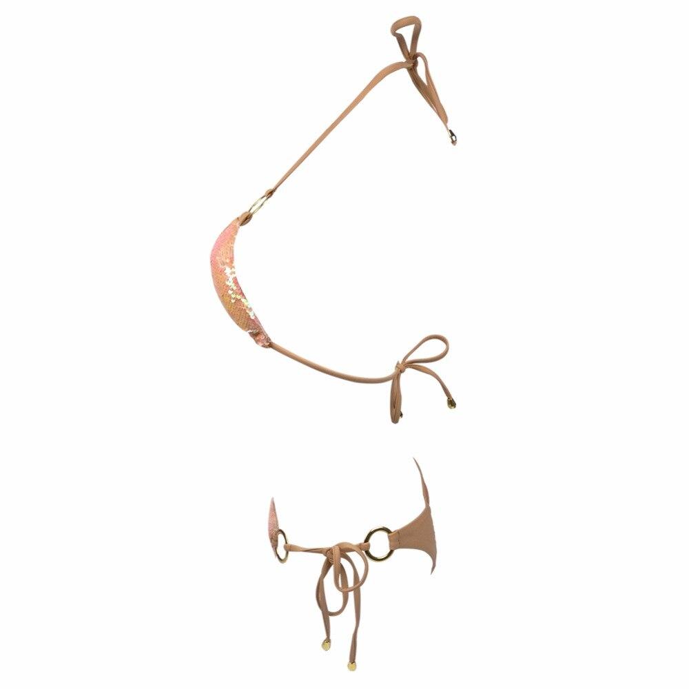 HTB1AcTUhmtYBeNjSspaq6yOOFXa1 2019 Hot Sell Bikini Set Women Sexy Low Waist Bathing Suit Simple Sequins Beach Brazilian Swimsuit Halter Bandage Swimwear