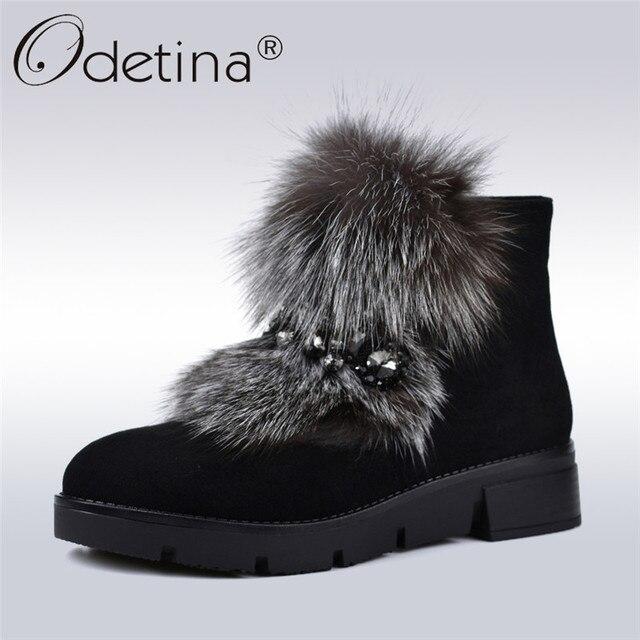 Odetina/Роскошные зимние сапоги из флока с лисьим мехом; Женская потайная молния на платформе; женские ботильоны с металлической цепочкой; зимняя теплая обувь