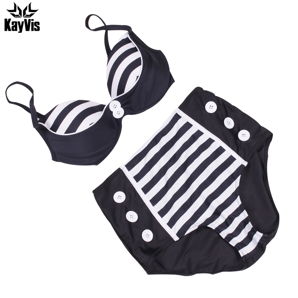 KayVis High Waist Bikini Women Swimsuit 2019 New Sexy Print Stripe Padded Push Up Swimwear Bikini Set Bathing Suit Swim Wear