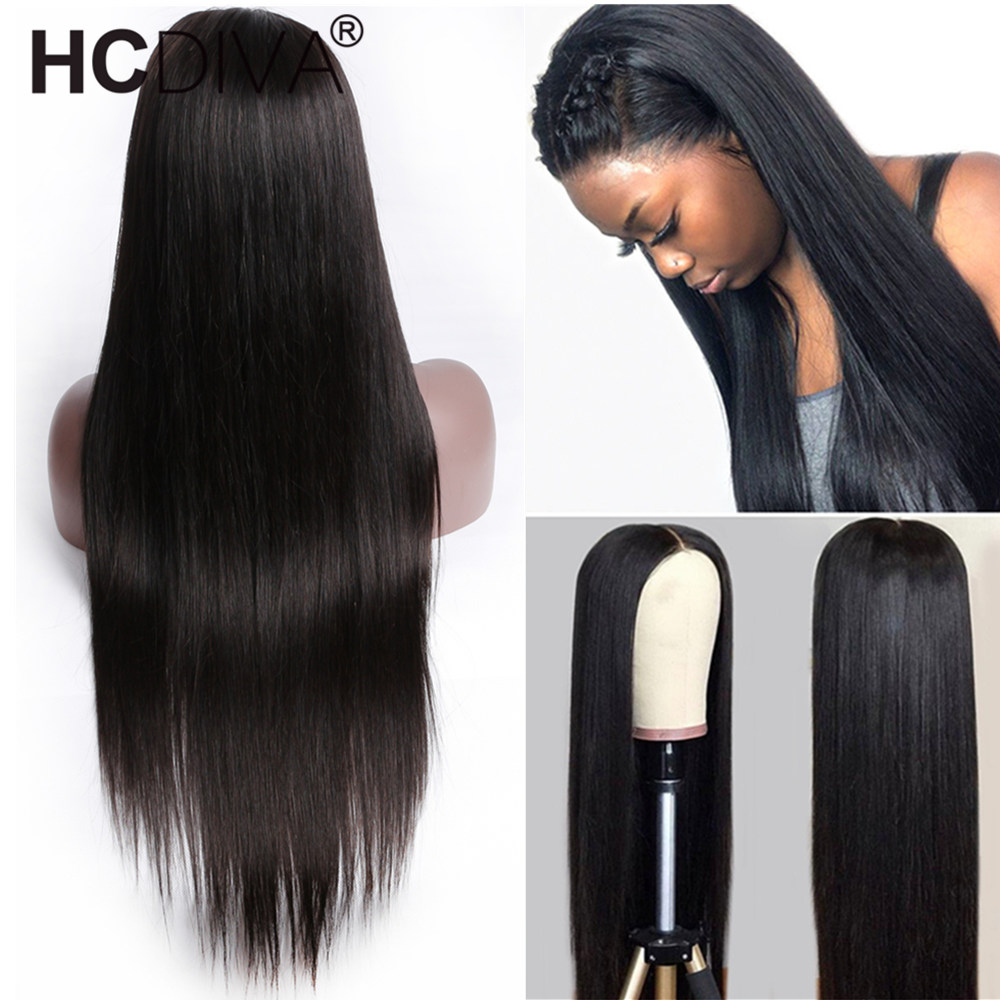 Straight Lace Front Wig 150 Remy Human Hair Wig Pre Plucked With Baby Hair Middle Part