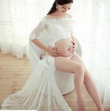 One Size White Women Pregnancy Photography Props Dresses Clothes Maternity  Long Dress Baby Shower Gown Pregnant
