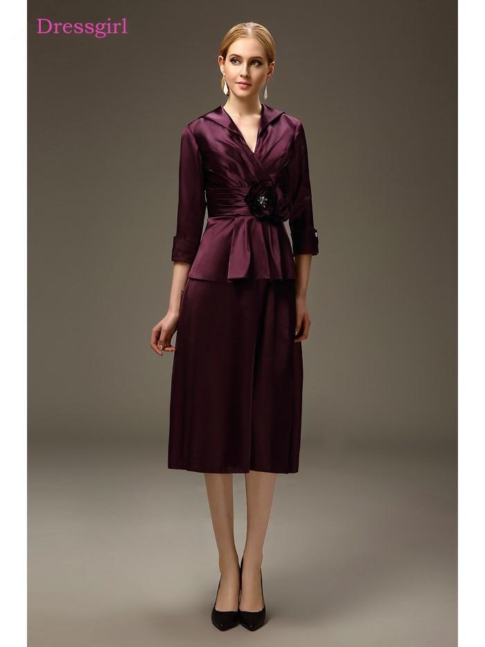 Purple 2019 Mother Of The Bride Dresses Sheath V-neck Taffeta Tea Length Plus Size Short Elegant Groom Mother Dresses Wedding