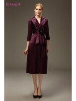 Purple 2019 Mother Of The Bride Dresses Sheath V neck Taffeta Tea Length Plus Size Short Elegant Groom Mother Dresses Wedding