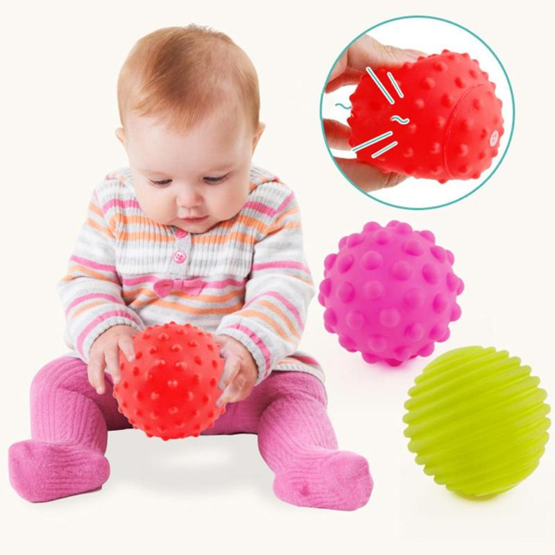 4Pcs Kids Montessori Textured Multi Ball Set Toys Baby Develop Tactile Sense Toy Touch Hand Soft Massage Training Balls Gifts