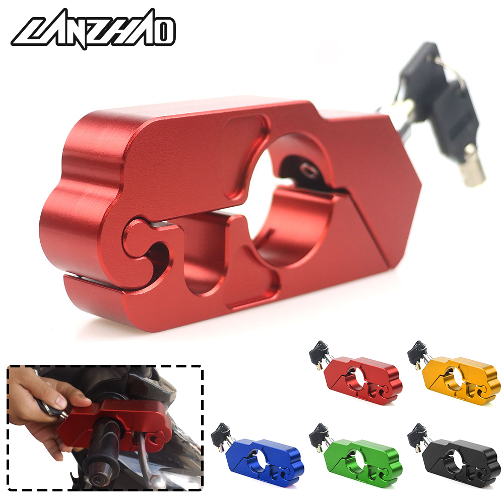 Motorcycle Handle Grip Lock CNC Aluminum Brake Lever Theft Protection Locks Universal for Kawasaki Z900 KTM Duke 125 200 390 250 motorcycle rear brake master cylinder reservoir cove for ktm duke 125 200 390 rc200 rc390 2012 2013 2014