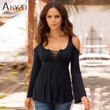 AKYZO 2017 Women Large Size Black Blouses Summer Patchwork Lace Up Off Shoulder Streetwear Tee Shirt 3XL 4XL 5XL
