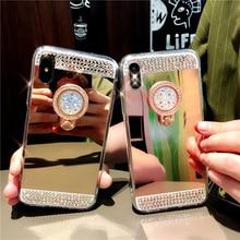 Cover For iphone 6 s 6s Plus 5 5c 5s X Mirror Cases Diamond Bling Case iPhone 8 7 10 Luxury Rhinestone