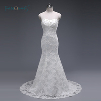 Sexy Beaded Lace Wedding Dress 2018 Long Mermaid Wedding Gown Sweetheart Bridal Gown Real Picture Robe de Mariage ASWD130