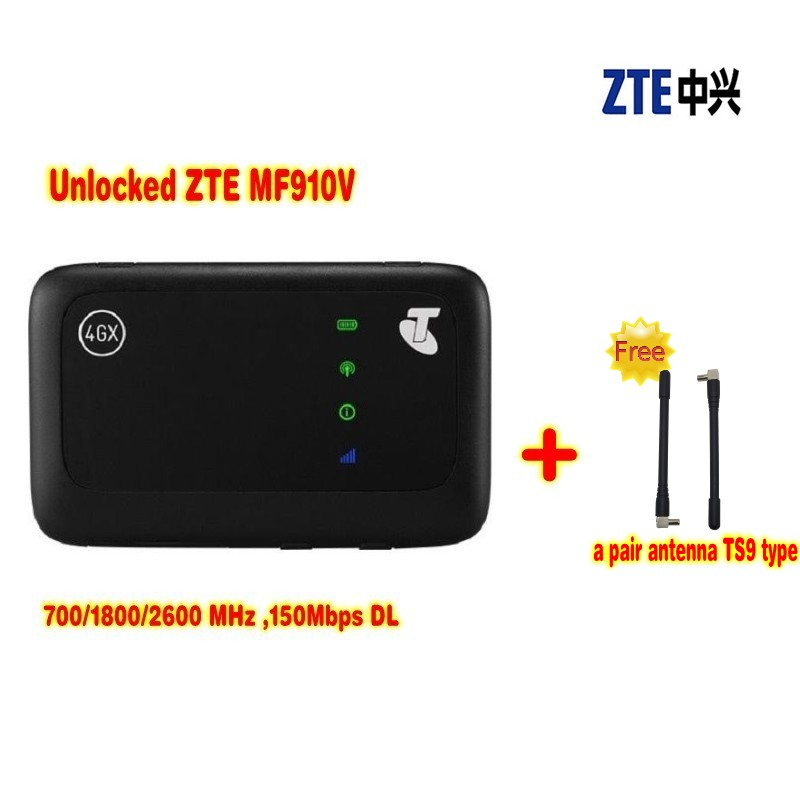 (+ 2pcs 4G antenna)ZTE MF910V 4G LTE Mobile WiFi Wireless Pocket Hotspot Router Modem UNLOCKED zte mf910v 4g lte mobile hotspot plus 4g antenne 35dbi