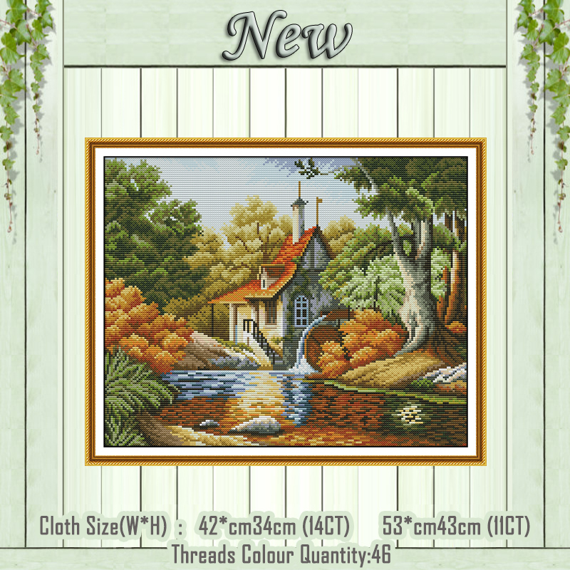 Sika Deer Crane River Forest Scenery Painting Dmc 14ct 11ct Counted Cross Stitch Needlework Set Embroidery Kits Home Decor Arts,crafts & Sewing Cross-stitch