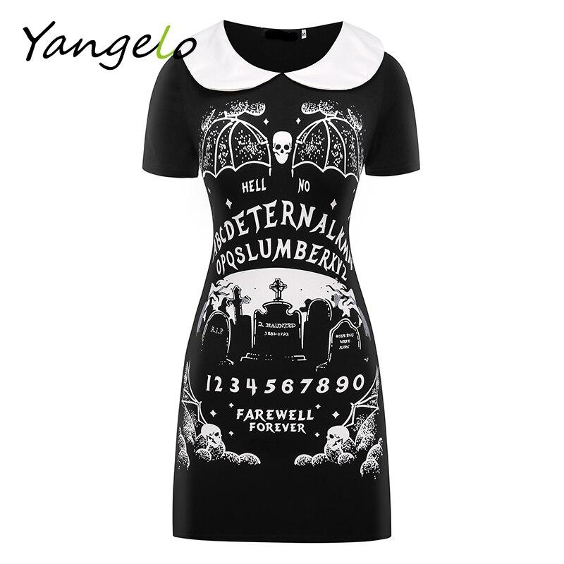 HARAJUKU PUNK negro furioso fe gótico vestido vestidos de las mujeres de moda de verano cuello Peter pan Vestido de manga corta