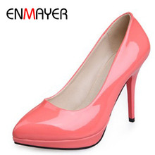 ENMAYER 8 Colors Hot Fashion High-heeled Shoes Women's Pumps Pointed Toe Thin Heel Sweet Women Shoes Sexy Beautiful Single Shoes free shipping customize women s small yards 32 33 velvet high heeled single thick heel shoes sweet princess plus size shoes 40